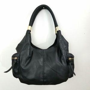 MONDANI NEW YORK Black Faux Leather Shoulder Purse